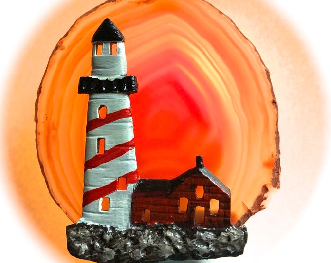 Agate Night Lights  Sensor w 7 watt bulb Hand Painted Oils Light House Night Light