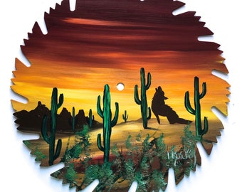 Hand Painted Saw Blade Southwestern Scenery Sunset Coyotes
