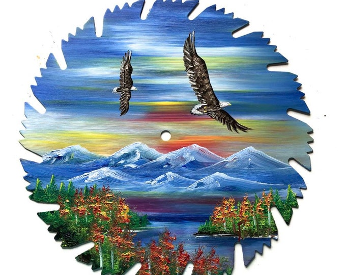 Hand Painted Saw Blade Mountain Scenery Fall Pair Eagles
