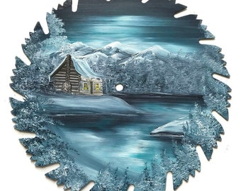 Hand Painted Saw Blade Mountain Winter Gray Green Log Cabin New