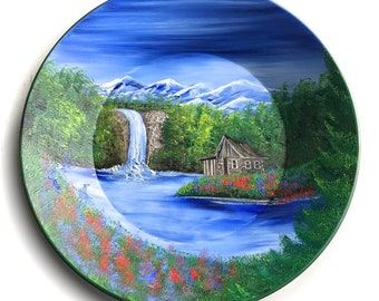 Hand Painted 11 Inch Gold Pans Mountain Summer Log Cabin  and Waterfall