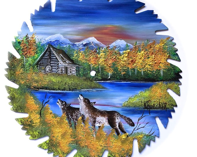 Hand Painted Saw Blade Mountain Fall  Log Cabin Wolves