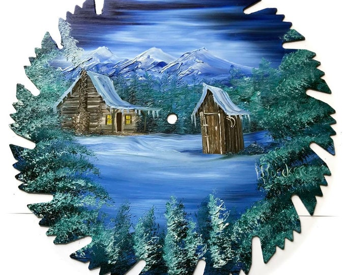 Hand Painted Saw Blade Northern Lights Log Cabin and Out House