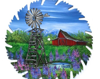 Hand Painted Saw Blade Mountain Summer Red Barn and Windmill