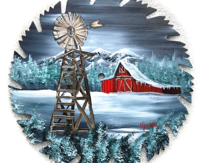 Hand Painted Saw Blade Mountain Gray Winter Red Barn and Windmill New