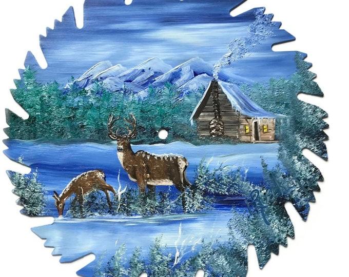 Hand Painted Saw Blade Mountain Winter  Whitetail Deer Log Cabin