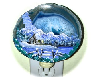 Agate Night Lights  Sensor w 7 watt bulb Hand Painted Oils  Mountain  Cabin