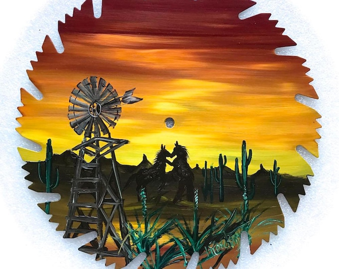 Hand Painted Saw Blade Southwestern Scenery Sunset Windmill Mustangs