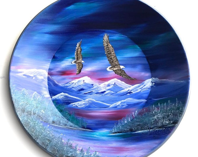 Hand Painted 11 Inch Gold Pans Northern Lights Eagles