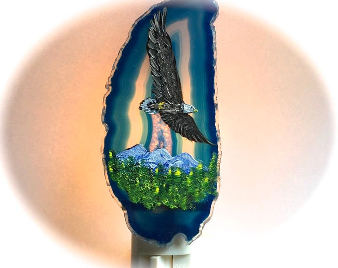 Agate Night Lights  Swivel Plug in  Hand Painted Oils Eagle