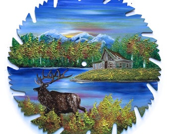 Hand Painted Saw Blade Mountain Fall Log Cabin and ELK
