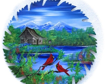 Hand Painted Saw Blade Mountain Cabin Summer Cardinals