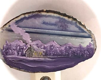 Agate Night Lights  Sensor w 7 watt bulb Hand Painted Oils Lavender Winter Cabin