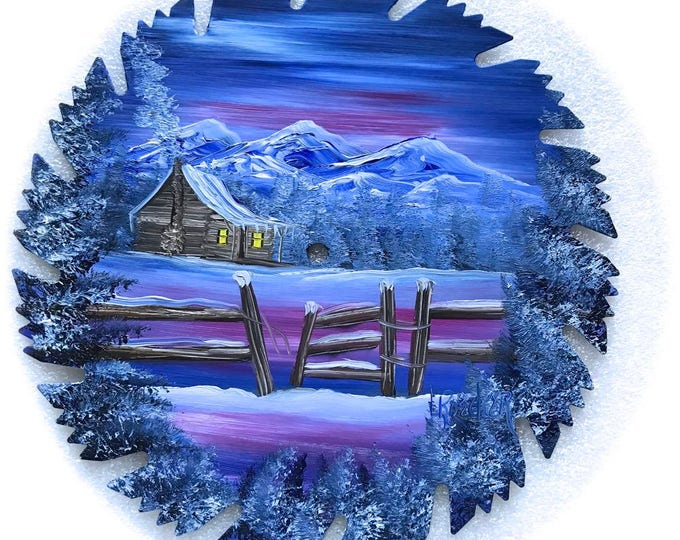 Hand Painted Saw Blade Mountain Log Cabin Winter Blue Fence