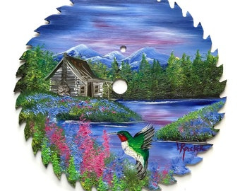 Hand Painted Saw Blade Mountain Summer Log Cabin and Hummingbird
