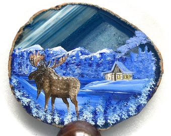 Hand Painted Brazilian Agate Winter Log Cabin and Moose Large Agate