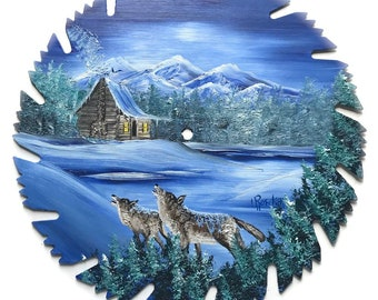 Hand Painted Saw Blade Winter Blue Mountain Scenery Log Cabin and Howling Wolves