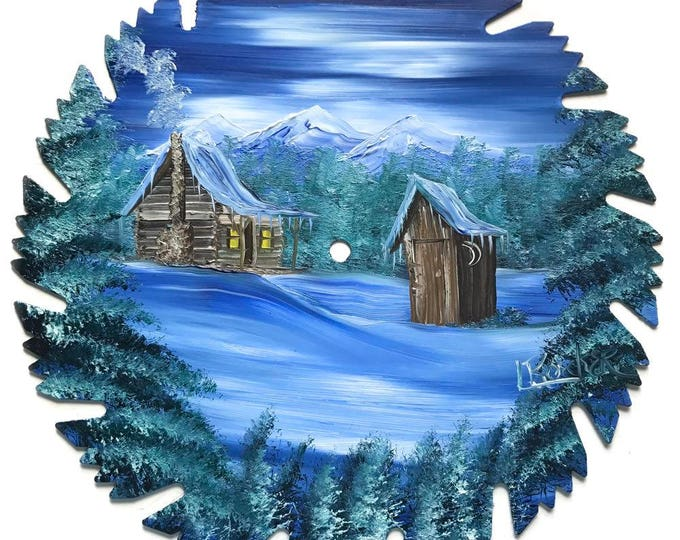 Hand Painted Saw Blade Mountain Winter Cabin and Outhouse