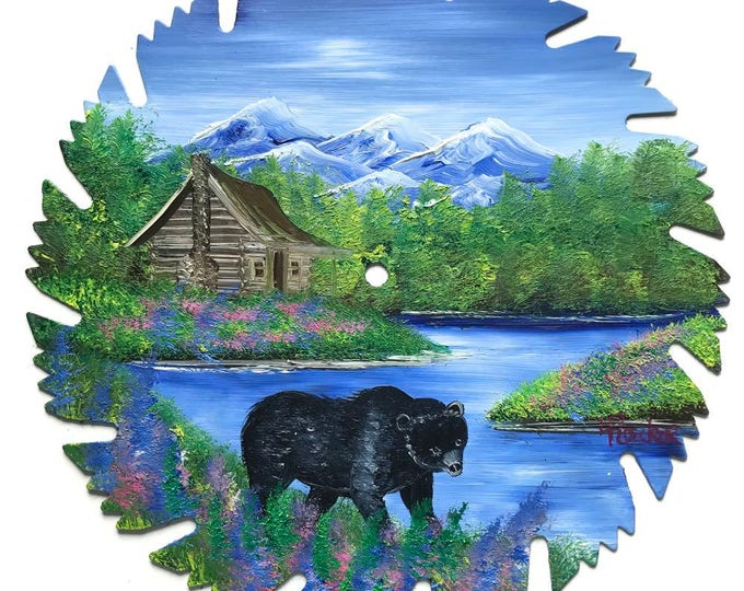 Hand Painted Saw Blade Mountain Summer Log Cabin and Black Bear
