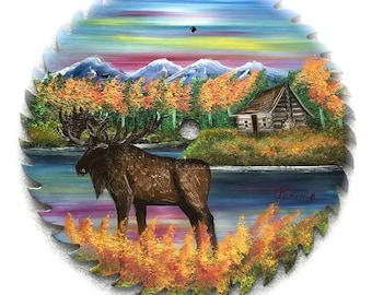 Hand Painted Saw Blade Mountain Fall Moose Log Cabin 10 1/4 inch Real Saw Blade
