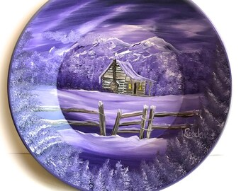 Hand Painted 11 Inch Gold Pans Mountain  Lavender Log Cabin w Fence