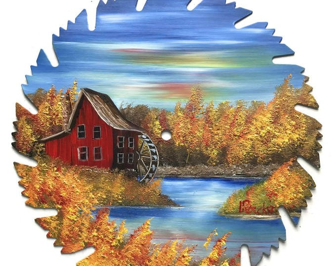 Hand Painted Saw Blade Mountain Fall Red Grist Mill Water Wheel