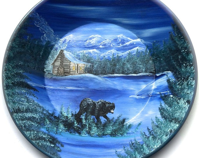 Hand Painted 11 Inch Gold Pans Blue Winter Log Cabin and Black Bear  On Sale!!