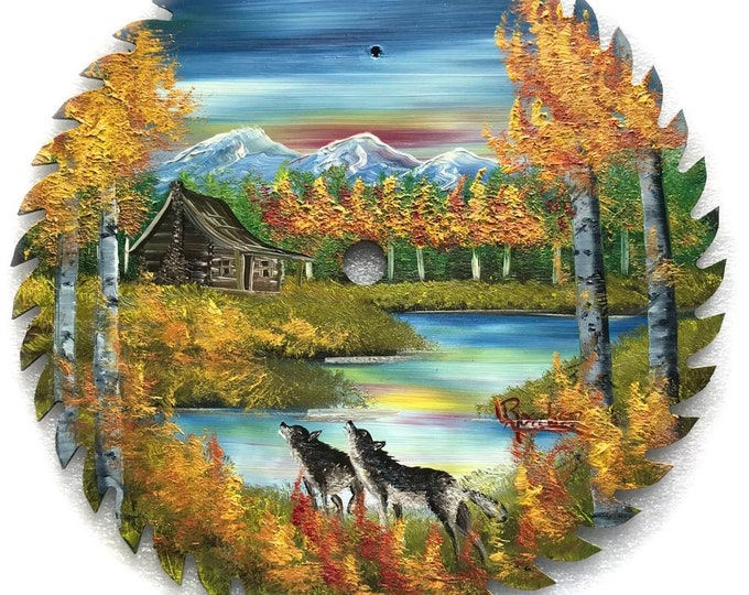 Hand Painted Saw Blade Mountain Fall Cabin and Wolves