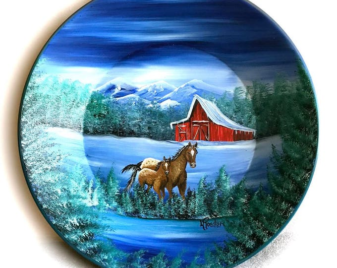 Hand Painted 11 Inch Gold Pans Mountain Winter Red Barn and Horses