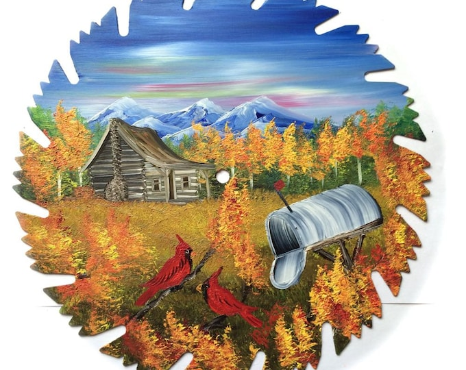Hand Painted Saw Blade Mountain FALL Cabin Cardinals and Mailbox (Will Personalize)