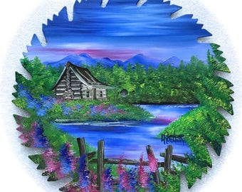 Hand Painted Saw Blade Mountain Scenery with Log Cabin w Fence Summer