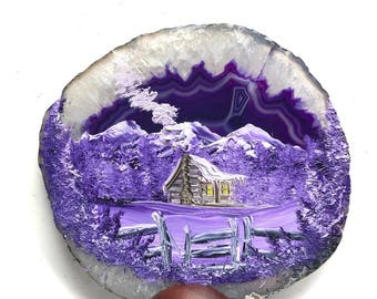 Hand Painted Brazilian Agate Lavender Winter Log Cabin