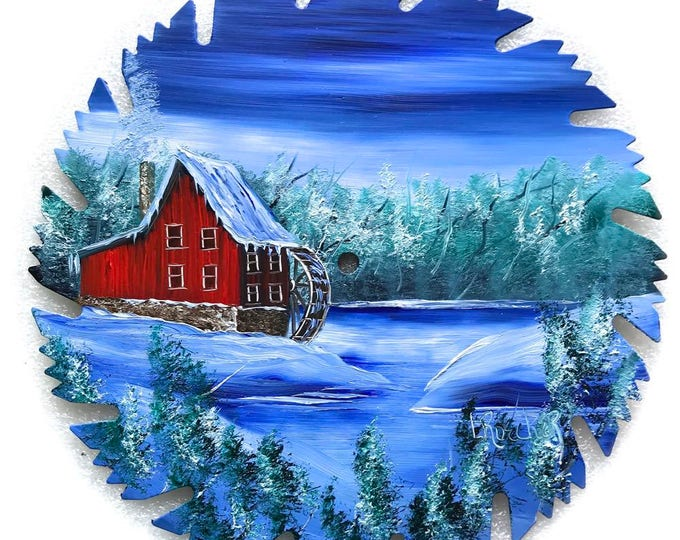 Hand Painted Saw Blade Winter Red Grist Mill Water Wheel