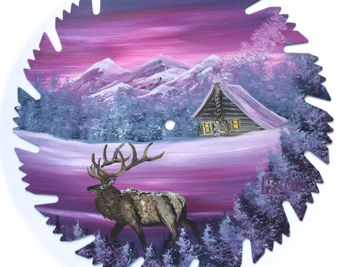 Hand Painted Saw Blade Mountain Mauve Winter Log Cabin and ELK