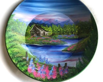 Hand Painted 11 Inch Gold Pans Mountain Summer Log Cabin