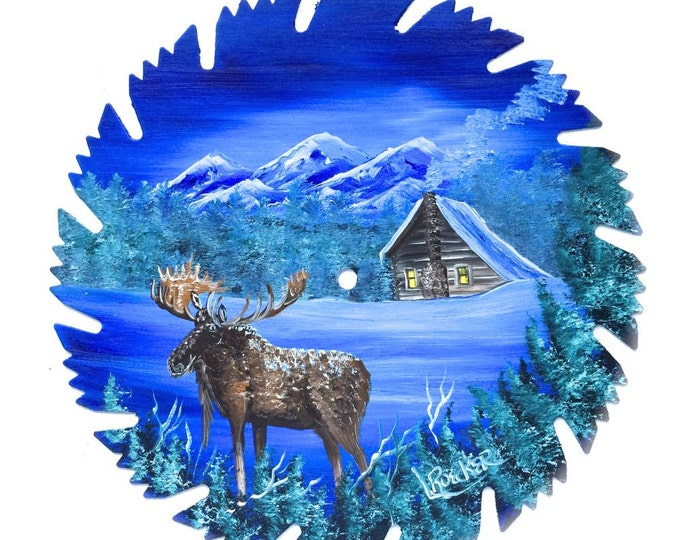 Hand Painted Saw Blade Blue Winter Log Cabin and Moose