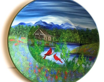 Hand Painted 11 Inch Gold Pans Mountain Summer Cabin and Cardinals