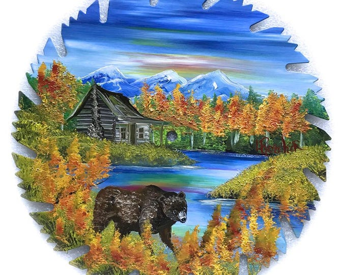 Hand Painted Saw Blade Mountain Fall Cabin and Brown Bear