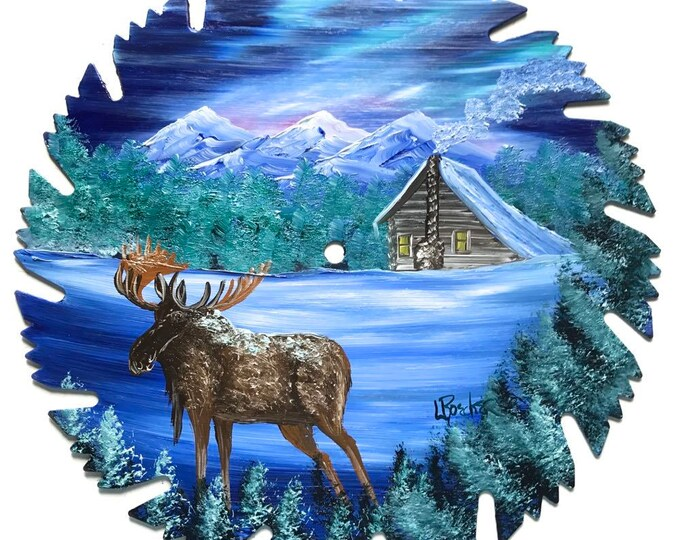 Hand Painted Saw Blade Blue Winter Log Cabin and Moose Northern Lights