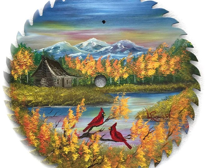 Hand Painted Saw Blade Mountain Fall Cabin and Cardinals
