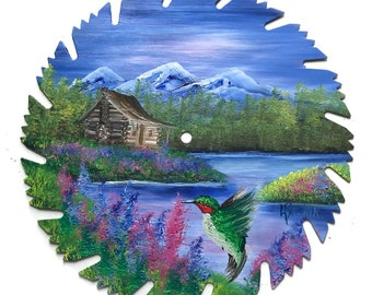Hand Painted Saw Blade  Mountain Cabin Summer Hummingbird