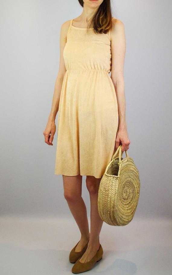 1970s peach terry towelling midi dress / vintage … - image 5
