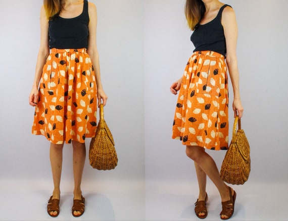 Vintage pumpkin orange full Autumn skirt / gathere