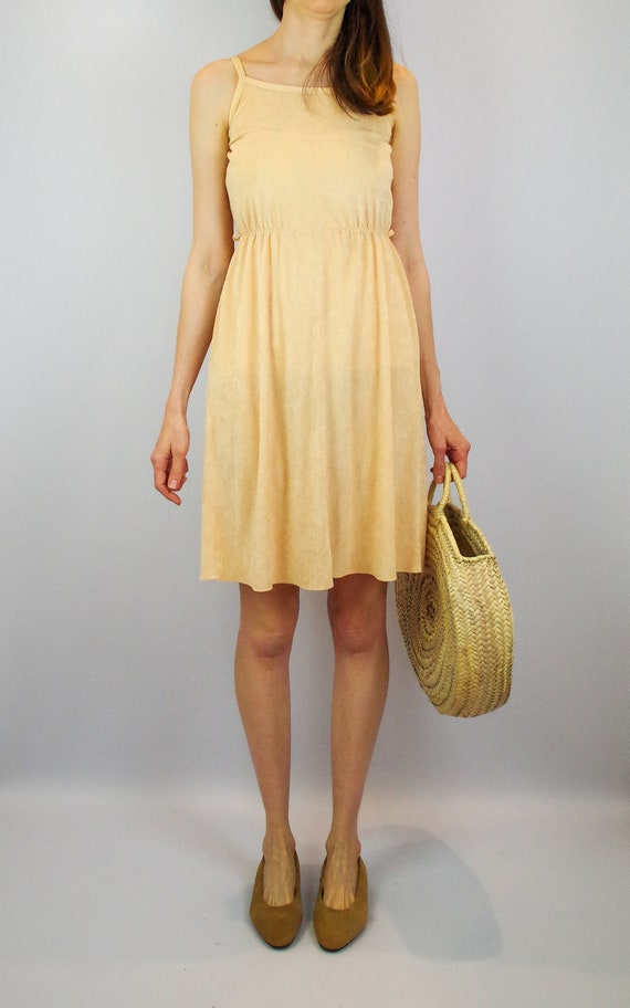 1970s peach terry towelling midi dress / vintage … - image 4