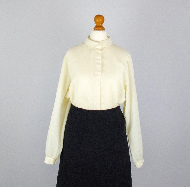 Vintage soft cream blouse  1970s secretary blouse  semi sheer beige blouse  minimalist top