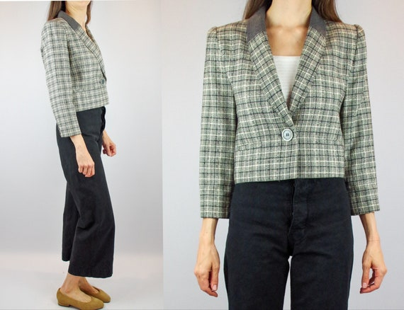VALENTINO 1990s cropped jacket / vintage grey and