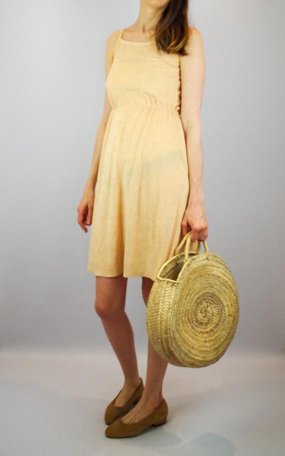 1970s peach terry towelling midi dress / vintage … - image 3