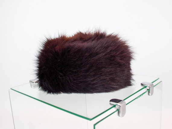 Dark brown vintage fur hat / 60s brown pill box ha