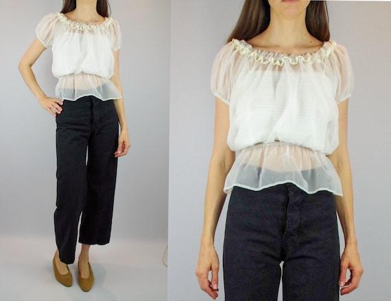 Sheer white 1970s off shoulder blouse / vintage ga