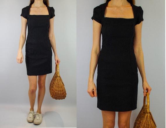 1990s little black dress / vintage pencil dress /